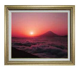 富士山 (1) F12サイズ 【油絵 直筆仕上げ】【額縁付】 油彩 風景画 オリジナルインテリア絵画 風水画 ゴールド額縁 757×656mm 送料無料