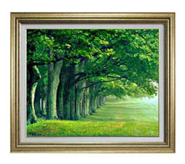 the green woods F12サイズ 【油絵 直筆仕上げ】【額縁付】 油彩 風景画 オリジナルインテリア絵画 風水画 ゴールド額縁 757×656mm 送料無料