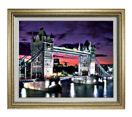 夜、ロンドン橋 F12サイズ 【油絵 直筆仕上げ】【額縁付】 油彩 風景画 オリジナルインテリア絵画 風水画 ゴールド額縁 757×656mm 送料無料