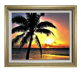 サンセットビーチ F12サイズ 【油絵 直筆仕上げ】【額縁付】 油彩 風景画 オリジナルインテリア絵画 風水画 ゴールド額縁 757×656mm 送料無料
