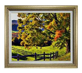 秋のはじまり F12サイズ 【油絵 直筆仕上げ】【額縁付】 油彩 風景画 オリジナルインテリア絵画 風水画 ゴールド額縁 757×656mm 送料無料