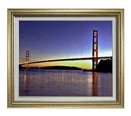 夕暮れの橋 F12サイズ 【油絵 直筆仕上げ】【額縁付】 油彩 風景画 オリジナルインテリア絵画 風水画 ゴールド額縁 757×656mm 送料無料
