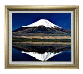 富士山(3) F12サイズ 【油絵 直筆仕上げ】【額縁付】 油彩 風景画 オリジナルインテリア絵画 風水画 ゴールド額縁 757×656mm 送料無料