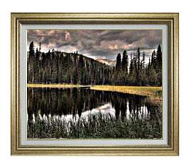 森浴の湖畔 F12サイズ 【油絵 直筆仕上げ】【額縁付】 油彩 風景画 オリジナルインテリア絵画 風水画 ゴールド額縁 757×656mm 送料無料