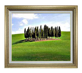 広陵の木々 F12サイズ 【油絵 直筆仕上げ】【額縁付】 油彩 風景画 オリジナルインテリア絵画 風水画 ゴールド額縁 757×656mm 送料無料