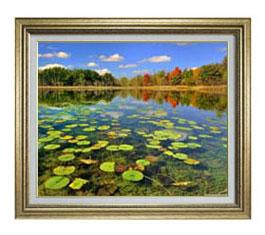 追憶の湖 F12サイズ 【油絵 直筆仕上げ】【額縁付】 油彩 風景画 オリジナルインテリア絵画 風水画 ゴールド額縁 757×656mm 送料無料