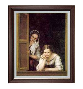 ムリーリョ Two Women at a Window F15 【油絵 直筆仕上げ 複製画】【油彩 国内生産 インテリア】絵画 販売 15号 人物画 ブラウン額縁 812×690mm 送料無料