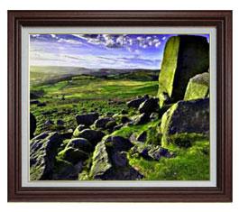草原の石塊 F15サイズ 【油絵 直筆仕上げ】【額縁付】 油彩 風景画 オリジナルインテリア絵画 風水画 ブラウン額縁 812×690mm 送料無料