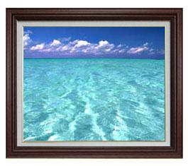 blue on blue F15サイズ 【油絵 直筆仕上げ】【額縁付】 油彩 風景画 オリジナルインテリア絵画 風水画 ブラウン額縁 812×690mm 送料無料