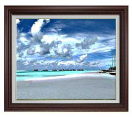 砂浜のミストラル F15サイズ 【油絵 直筆仕上げ】【額縁付】 油彩 風景画 オリジナルインテリア絵画 風水画 ブラウン額縁 812×690mm 送料無料