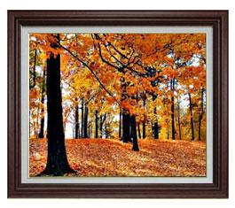 秋の情景 F15サイズ 【油絵 直筆仕上げ】【額縁付】 油彩 風景画 オリジナルインテリア絵画 風水画 ブラウン額縁 812×690mm 送料無料