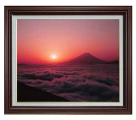 富士山 (1) F15サイズ 【油絵 直筆仕上げ】【額縁付】 油彩 風景画 オリジナルインテリア絵画 風水画 ブラウン額縁 812×690mm 送料無料