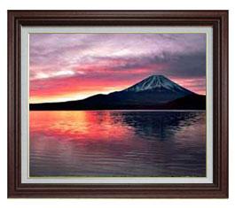 富士山 (2) F15サイズ 【油絵 直筆仕上げ】【額縁付】 油彩 風景画 オリジナルインテリア絵画 風水画 ブラウン額縁 812×690mm 送料無料
