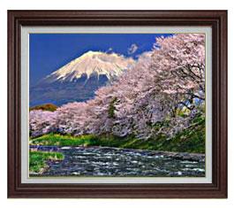 富士山-桜- F15サイズ 【油絵 直筆仕上げ】【額縁付】 油彩 風景画 オリジナルインテリア絵画 風水画 ブラウン額縁 812×690mm 送料無料
