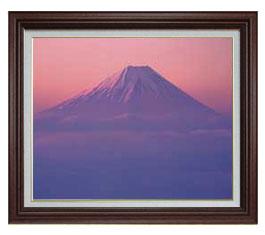 富士山-彩- F15サイズ 【油絵 直筆仕上げ】【額縁付】 油彩 風景画 オリジナルインテリア絵画 風水画 ブラウン額縁 812×690mm 送料無料