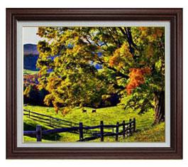 秋のはじまり F15サイズ 【油絵 直筆仕上げ】【額縁付】 油彩 風景画 オリジナルインテリア絵画 風水画 ブラウン額縁 812×690mm 送料無料