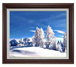 冬の幻想 F15サイズ 【油絵 直筆仕上げ】【額縁付】 油彩 風景画 オリジナルインテリア絵画 風水画 ブラウン額縁 812×690mm 送料無料