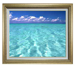 blue on blue F15サイズ 【油絵 直筆仕上げ】【額縁付】 油彩 風景画 オリジナルインテリア絵画 風水画 ゴールド額縁 812×690mm 送料無料