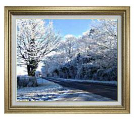 冬の樹木 F15サイズ 【油絵 直筆仕上げ】【額縁付】 油彩 風景画 オリジナルインテリア絵画 風水画 ゴールド額縁 812×690mm 送料無料
