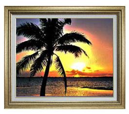 サンセットビーチ F15サイズ 【油絵 直筆仕上げ】【額縁付】 油彩 風景画 オリジナルインテリア絵画 風水画 ゴールド額縁 812×690mm 送料無料