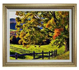 秋のはじまり F15サイズ 【油絵 直筆仕上げ】【額縁付】 油彩 風景画 オリジナルインテリア絵画 風水画 ゴールド額縁 812×690mm 送料無料