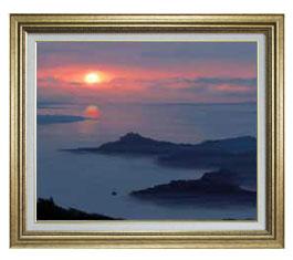 静謐の海 F15サイズ 【油絵 直筆仕上げ】【額縁付】 油彩 風景画 オリジナルインテリア絵画 風水画 ゴールド額縁 812×690mm 送料無料