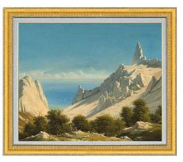 リベルト Sommerspiret, the Cliffs of M?n F20  【油絵 直筆仕上げ 複製画】【油彩 国内生産 インテリア】絵画 販売 20号 風景画 額縁 887×766mm 送料無料
