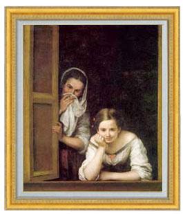 ムリーリョ Two Women at a Window F20  【油絵 直筆仕上げ 複製画】【油彩 国内生産 インテリア】絵画 販売 20号 人物画 ゴールド額縁 887×766mm 送料無料