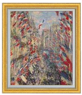 正規激安 爆安 送料無料 油絵 直筆仕上げ インテリア 壁掛 プレゼント ギフト クロード モネ モントルグイユ通り 1878年6月30日の祝日 20号 国内生産 887×766mm 風景画 ゴールド額縁 油彩 絵画 F20 販売 複製画