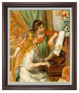 送料無料 油絵 直筆仕上げ インテリア 壁掛 プレゼント ギフト ルノワール ピアノに寄る少女たち F20 20号 絵画 複製画 ブラウン額縁 1着でも送料無料 887×766mm 油彩 美品 人物画 販売 国内生産