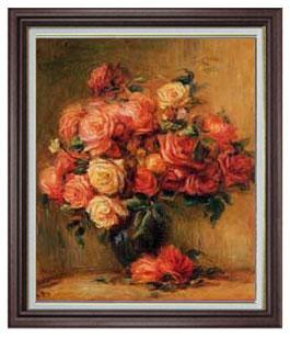 ルノワール Bouquet of Roses ばら F20  【油絵 直筆仕上げ 複製画】【油彩 国内生産 インテリア】絵画 販売 20号 静物画 ブラウン額縁 887×766mm 送料無料