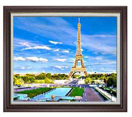 パリ、エッフェル塔 -彩- F20サイズ 【油絵 直筆仕上げ】【額縁付】 油彩 風景画 オリジナルインテリア絵画 風水画 ブラウン額縁 887×766mm 送料無料