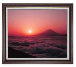 富士山 (1) F20サイズ 【油絵 直筆仕上げ】【額縁付】 油彩 風景画 オリジナルインテリア絵画 風水画 ブラウン額縁 887×766mm 送料無料