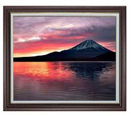 富士山 (2) F20サイズ 【油絵 直筆仕上げ】【額縁付】 油彩 風景画 オリジナルインテリア絵画 風水画 ブラウン額縁 887×766mm 送料無料