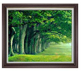 the green woods F20サイズ 【油絵 直筆仕上げ】【額縁付】 油彩 風景画 オリジナルインテリア絵画 風水画 ブラウン額縁 887×766mm 送料無料
