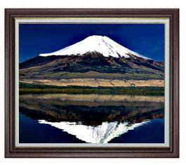 富士山(3) F20サイズ 【油絵 直筆仕上げ】【額縁付】 油彩 風景画 オリジナルインテリア絵画 風水画 ブラウン額縁 887×766mm 送料無料