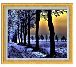 冬の足跡 F20サイズ 【油絵 直筆仕上げ】【額縁付】 油彩 風景画 オリジナルインテリア絵画 風水画 ゴールド額縁 887×766mm 送料無料