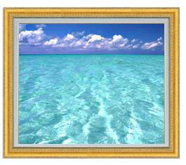 blue on blue F20サイズ 【油絵 直筆仕上げ】【額縁付】 油彩 風景画 オリジナルインテリア絵画 風水画 ゴールド額縁 887×766mm 送料無料
