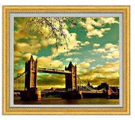 ロンドン橋を眺む F20サイズ 【油絵 直筆仕上げ】【額縁付】 油彩 風景画 オリジナルインテリア絵画 風水画 ゴールド額縁 887×766mm 送料無料