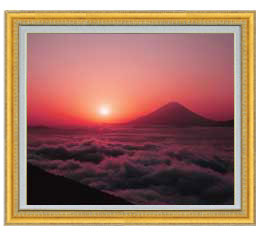 富士山 (1) F20サイズ 【油絵 直筆仕上げ】【額縁付】 油彩 風景画 オリジナルインテリア絵画 風水画 ゴールド額縁 887×766mm 送料無料