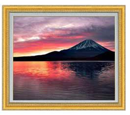 富士山 (2) F20サイズ 【油絵 直筆仕上げ】【額縁付】 油彩 風景画 オリジナルインテリア絵画 風水画 ゴールド額縁 887×766mm 送料無料