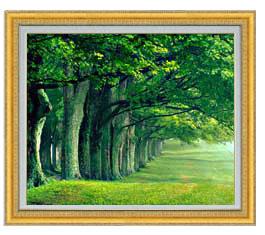 the green woods F20サイズ 【油絵 直筆仕上げ】【額縁付】 油彩 風景画 オリジナルインテリア絵画 風水画 ゴールド額縁 887×766mm 送料無料