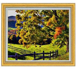 秋のはじまり F20サイズ 【油絵 直筆仕上げ】【額縁付】 油彩 風景画 オリジナルインテリア絵画 風水画 ゴールド額縁 887×766mm 送料無料