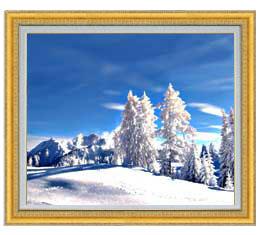 冬の幻想 F20サイズ 【油絵 直筆仕上げ】【額縁付】 油彩 風景画 オリジナルインテリア絵画 風水画 ゴールド額縁 887×766mm 送料無料