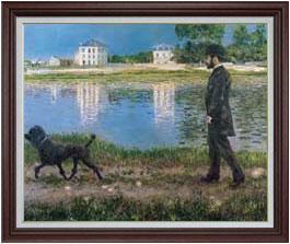 カイユボット リチャードギャロと彼の犬、プチジェヌヴィリエにて F30  【油絵 直筆仕上げ 複製画】【油彩 国内生産 インテリア】絵画 販売 30号 風景画 ブラウン額縁 1070×887mm 送料無料