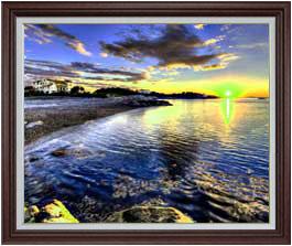 朝の海辺にて  F30サイズ 【油絵 直筆仕上げ】【額縁付】 油彩 風景画 オリジナルインテリア絵画 風水画 ブラウン額縁 1070×887mm 送料無料