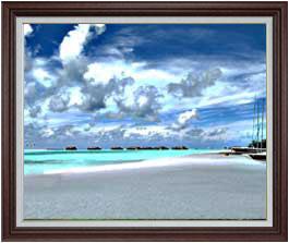 砂浜のミストラル F30サイズ 【油絵 直筆仕上げ】【額縁付】 油彩 風景画 オリジナルインテリア絵画 風水画 ブラウン額縁 1070×887mm 送料無料