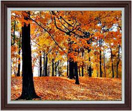 秋の情景 F30サイズ 【油絵 直筆仕上げ】【額縁付】 油彩 風景画 オリジナルインテリア絵画 風水画 ブラウン額縁 1070×887mm 送料無料