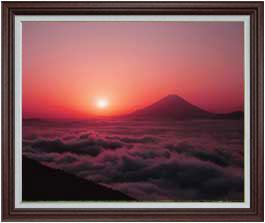富士山 (1) F30サイズ 【油絵 直筆仕上げ】【額縁付】 油彩 風景画 オリジナルインテリア絵画 風水画 ブラウン額縁 1070×887mm 送料無料