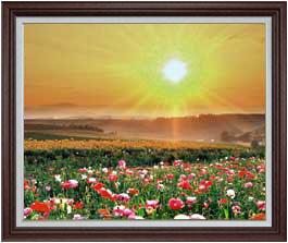 フラワーホープ F30サイズ 【油絵 直筆仕上げ】【額縁付】 油彩 風景画 オリジナルインテリア絵画 風水画 ブラウン額縁 1070×887mm 送料無料